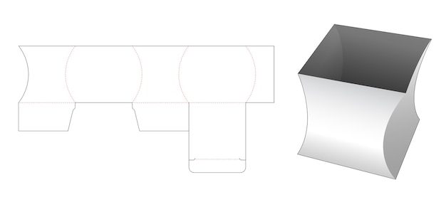 Curve square stationery box die cut template