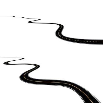 白い背景で隔離の湾曲したアスファルト道路