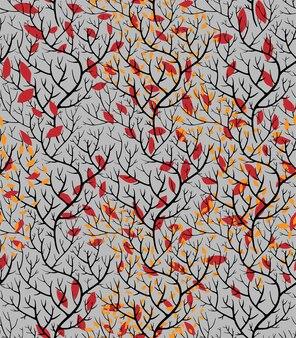 乾燥した葉、森や森の秋の小枝と湾曲した枝