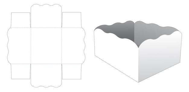 곡선 모서리 직사각형 그릇 다이 컷 템플릿