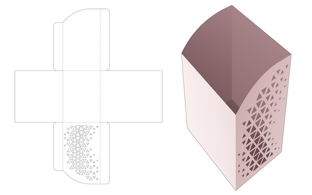 스텐실 삼각형 다이 컷 템플릿이있는 곡선 모서리 높이 상자