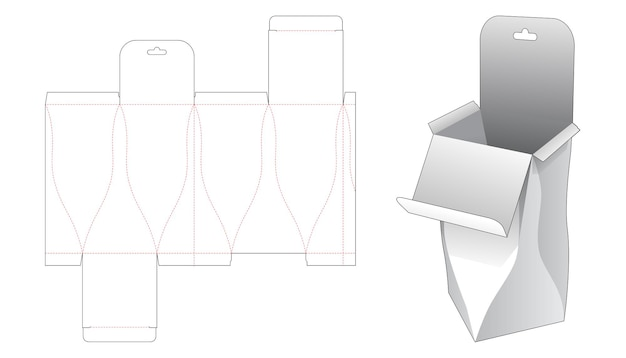 Curved flip packaging box with hanging hole die cut template