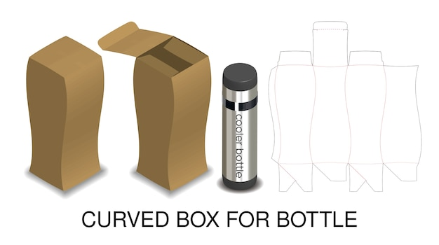 Curved hard paper box for bottle packaging product