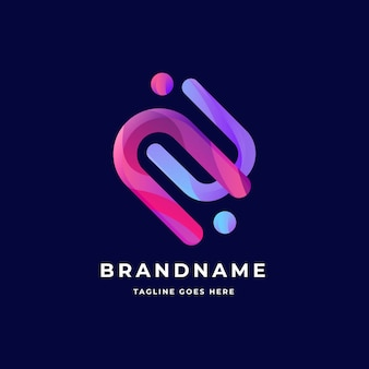 Curved lines and dots logo business template