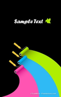 Curved painting rollers vector