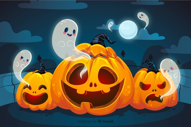 Curved pumpkins and ghosts halloween background