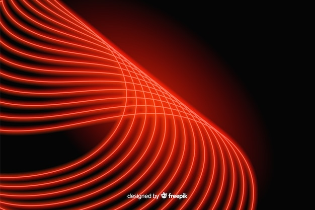 Curved red line with lights background