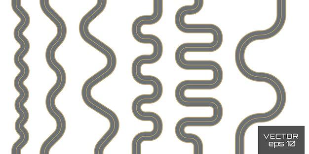 曲線道路、高速道路。歩道、リング、無限、ターン。 Premiumベクター