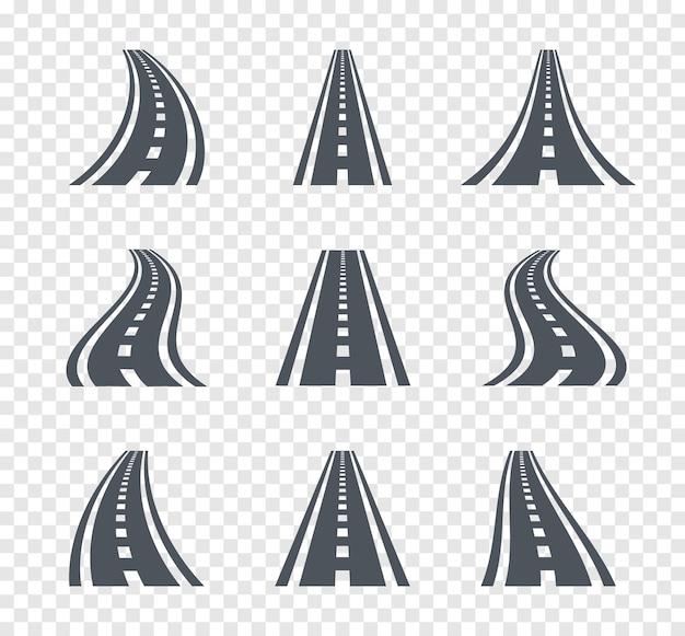 曲がった道路のシンボル。透明な背景に高速道路と道路標識のイラスト。