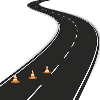 Curved road with white markings, orange road cones.