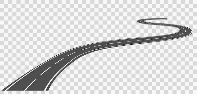 흰색 표시가 있는 곡선 도로