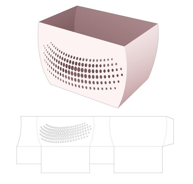 스텐실 하프 톤 도트 다이 컷 템플릿이있는 곡선 측면 보울 박스