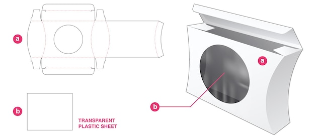 透明なプラスチックシートダイカットテンプレートと湾曲したサイドボックスと正円窓