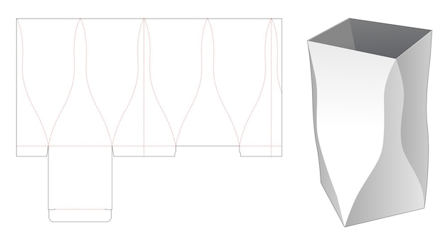 Curved stationery box die cut template