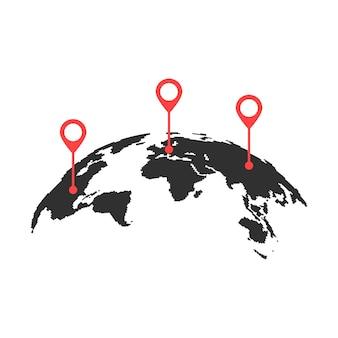 Изогнутая карта мира с красными булавками. концепция кругосветного путешествия, глобализация, геолокационный поиск, туризм. изолированные на белом фоне. плоский стиль тенденции современный дизайн логотипа векторные иллюстрации
