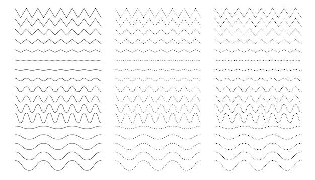 曲線とジグザグの線が異なる細い線の波