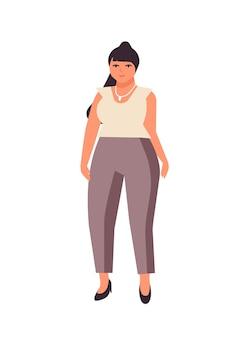 Пышная темноволосая женщина плоская векторная иллюстрация. пухлая кавказская девушка мультипликационный персонаж в белой блузке и штанах. положительное тело, женщина плюс размер, изолированные на белом фоне.