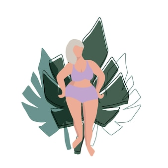 Curvy female figure simple minimal design with plant leaves as a background