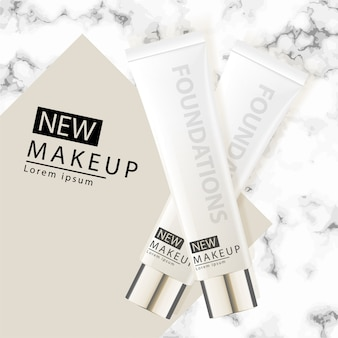 Cushion Foundation Makeup, an attractive makeup product with textured  marble background.