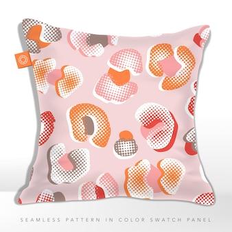 ピンクとオレンジのヒョウのシームレスパターンハーフトーン効果のクッション
