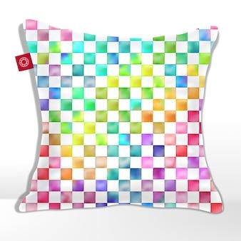 チェッカーシームレスパターンと水彩画の鮮やかな虹色のクッション