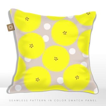 ネオンイエローとベージュの和風春または秋ミニマルまたは抽象的な花柄のシームレスパターンのクッション
