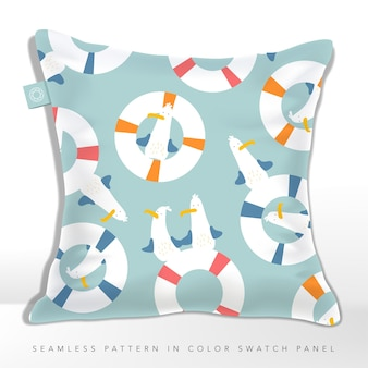 Cushion with seamless cute seagull and buoy cartoon pattern in pastel colors