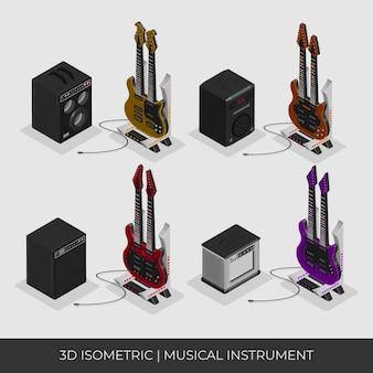 2つのネックと完全なセットを備えたカスタム3dアイソメトリックギター