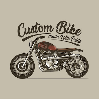 Custom bike motorcycle build vintage vector illustration