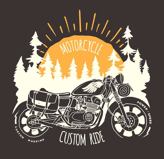 Custom bike travel hand drawn  t-shirt print.