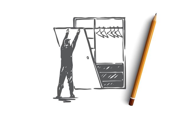 カスタム、ビルトイン、建設、作業、コンセプトの作成。食器棚のコンセプトスケッチを作る手描きの男。図。