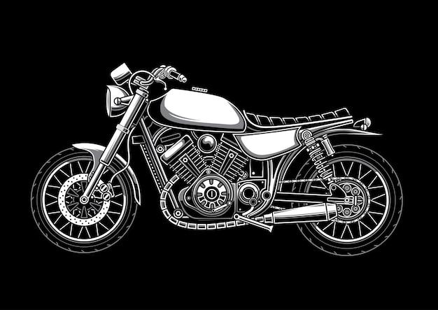 カスタムクラシックオートバイイラスト Premiumベクター