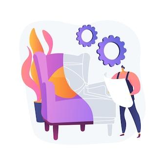 カスタム家具抽象的な概念図。オーダーメイドの家具、手作り製品のオンラインショッピング、職人の製造、カスタム建具、クライアントのスケッチ