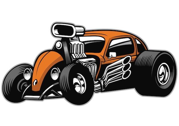 Custom hotrod car with big engine