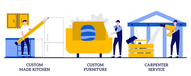 Custom made kitchens, custom furniture, carpenter services concept with tiny people. home renovation abstract vector illustration set. apartment interior design, house furnishing metaphor.