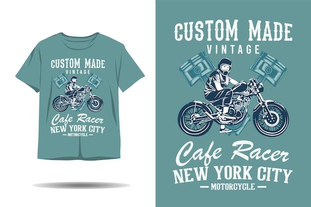 Custom made vintage cafe racer new york city silhouette tshirt design