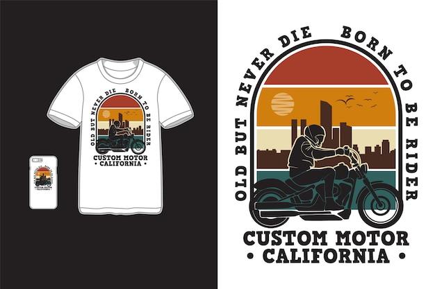 Пользовательский дизайн motor california для футболки силуэт в стиле ретро