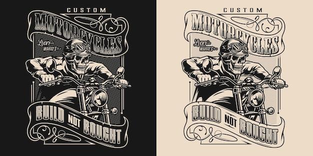 Изготовленная на заказ монохромная эмблема мотоцикла с байкером-скелетом в мотошлеме, защитные очки, куртка для езды на мотоцикле