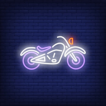 Custom motorcycle on brick background. Neon style illustration.