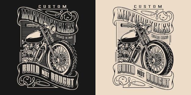 어둡고 밝은 배경에 글자와 오토바이가 있는 맞춤형 오토바이 빈티지 우아한 상징