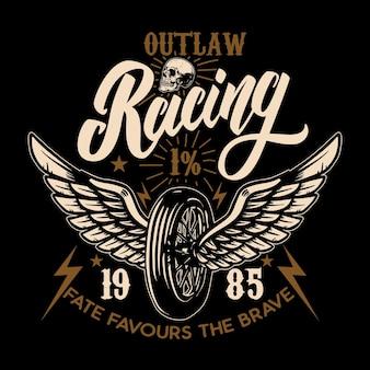 Мотоциклы на заказ. крылатое колесо гонщика. элемент дизайна для плаката, эмблемы, футболки.