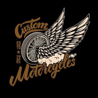 Custom motorcycles. racer winged wheel. design element for poster, emblem, t shirt.