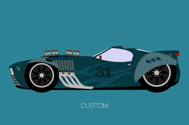 Custom muscle car, side view, flat design style