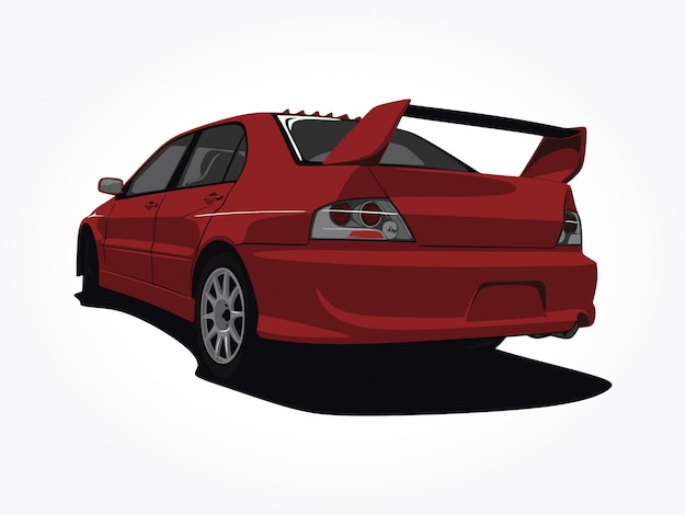 Custom red car  illustration