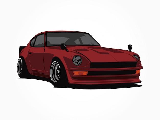 Custom red car  illustration