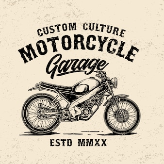 Custom vintage motorcycle garage logo template