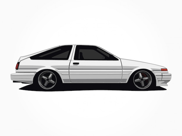 Custom white car  illustration