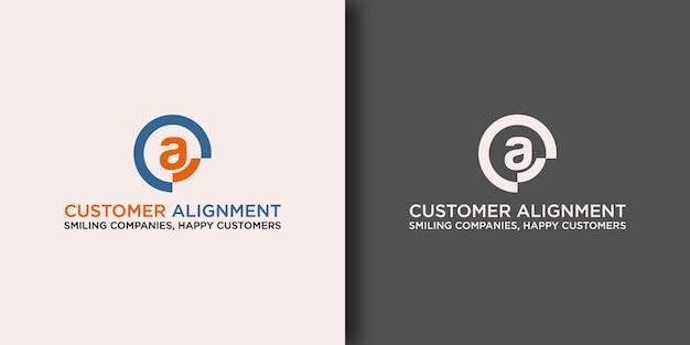 Шаблон логотипа customer alignment с современной концепцией Premium векторы