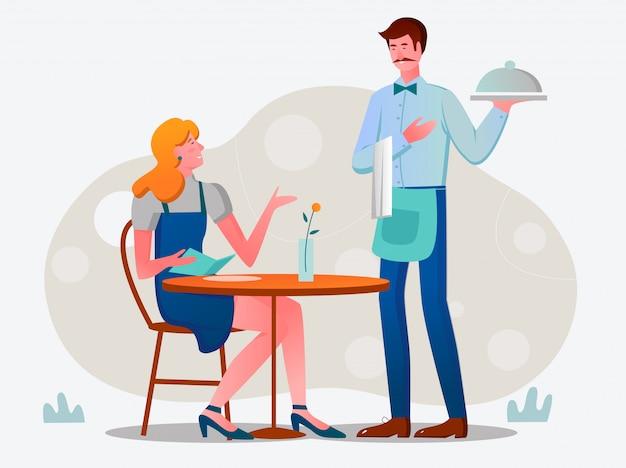 顧客とカフェのイラストでウェイター。