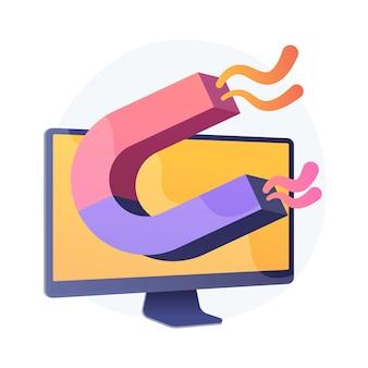 고객 유치 마케팅 전략. 디지털 타겟, 광고 캠페인, 리드 생성. 컴퓨터 모니터 절연 디자인 요소에 자석.